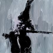 """""""Le Kid XII"""" - technique mixte acrylique  sur toile - 20x20 - Ref:HZ-245 Charlie Chaplin™ © Bubbles Inc. S.A."""