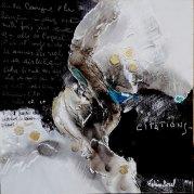 """""""La langue du coeur"""" - Toile mixte acrylique et cire - sur bois 20x20 - HZ 428"""