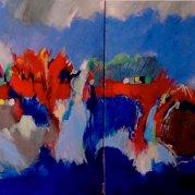 """""""Divagations""""- diptyque – 160x80 -2 foix 80x80 – acrylique sur toiles - HZ 156"""
