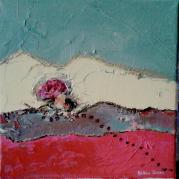 """""""Composition à la rose"""" - technique mixte acrylique sur toile - 20x20 - Ref:HZ-219"""