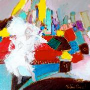 """""""La mariée se repose"""" - acrylique sur toile - 20x20 - Ref:HZ-230"""