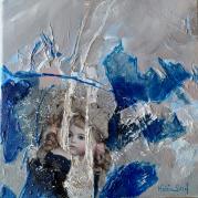 """""""Poupée de collection II"""" - technique mixte acrylique sur toile - 20x20 - Ref:HZ-249"""