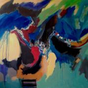 """""""Les deux pigeons"""" -162x130--acrylique - Ref:HZ-29"""