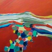 """""""Le ciel était rouge"""" - acrylique sur toile 80x80 - HZ 406"""