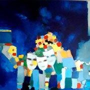 """""""Les masques"""" - huile sur toile 100x73 - HZ 451"""