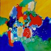 """""""L'envol des couleurs"""" - Acrylique sur toile 80x80 - HZ 534"""