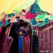 """""""Bruits du coeur"""" - acrylique sur bois - 20x20 - HZ-598"""